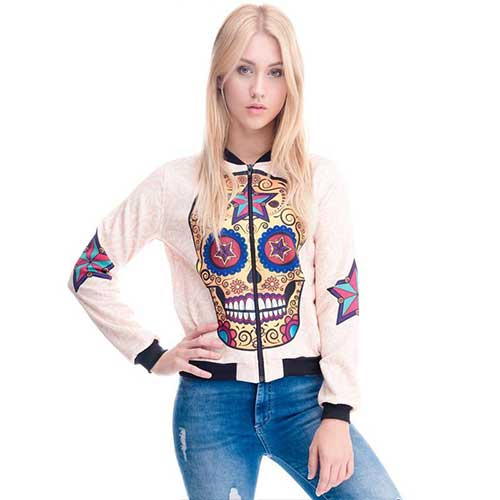 Mexican Sugar Skull Bomber Jacket