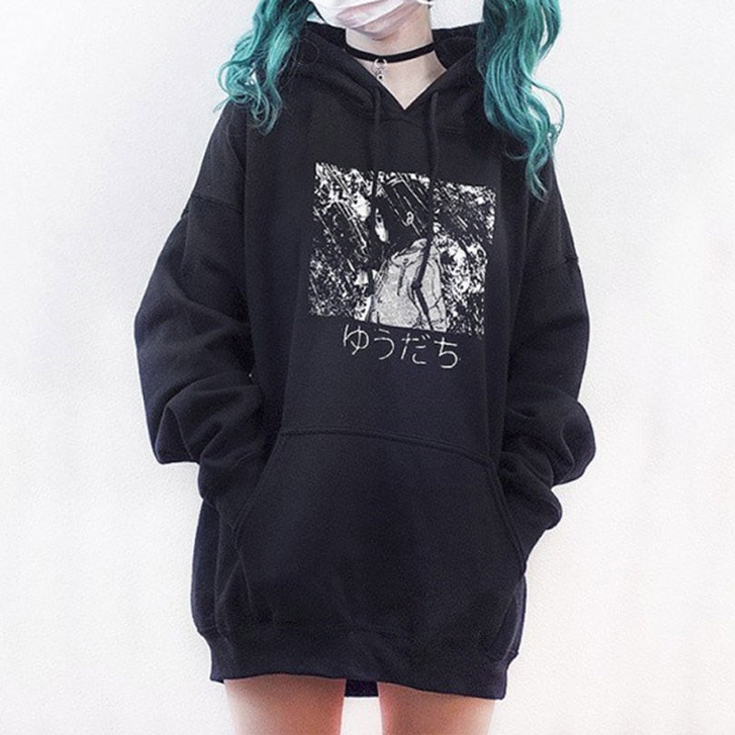 Harajuku Cartoon Anime Girl Print Women Hoodies Gothic Punk Oversize Velvet Hooded Sweatshirt Pullover Streetwear Hoody