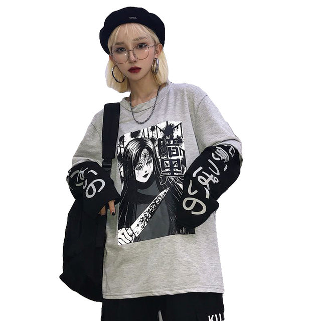 Harajuku Anime Gothic kill Long Sleeve Tops