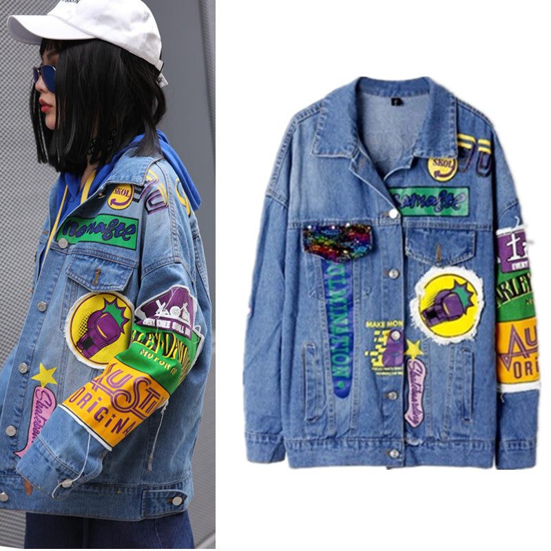 New Denim jacket women geek ROCK Letters print high street women outerwear coat Appliques oversized causal punk jackets NZ28