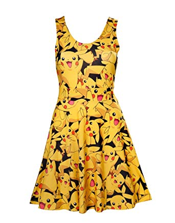 All-over Pikachu Printed Sleeveless Dress