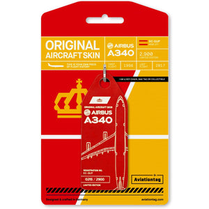 Aviationtag Iberia Airlines A340 Aircraft Skin Tag in red colour with packaging - Aircraft Registration EC-GUP