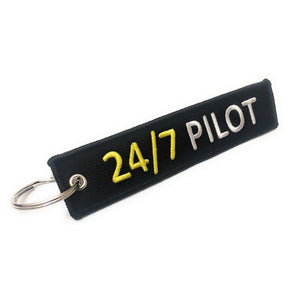 24/7 Pilot Keychain | Luggage Tag | Black / White | Aviamart