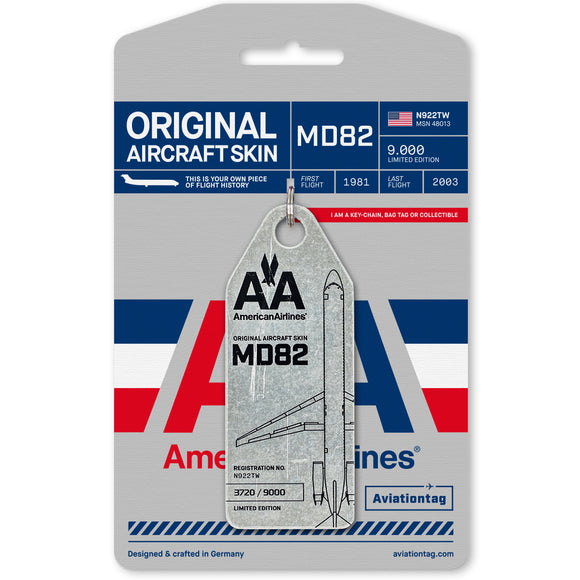 Aviationtag American Airlines MD-82 Aircraft Skin Tag in silver colour with packaging - Aircraft Registration N922TW