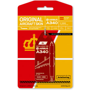 Aviationtag Iberia Airlines A340 Aircraft Skin Tag in dark red colour with packaging - Aircraft Registration EC-GUP