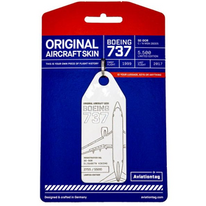 Aviationtag SAS Airlines B737 Aircraft Skin Tag in white colour with packaging - Aircraft Registration SE-DOR