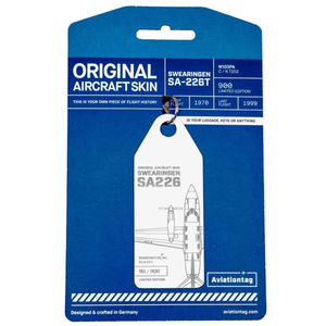 Aviationtag Swearingen SA 226 Aircraft Skin Tag in white colour with packaging - Aircraft Registration N103PA
