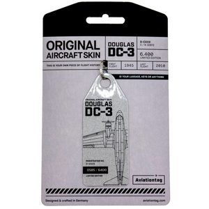 Aviationtag Candy Bomber Douglas DC-3 Aircraft Skin Tag in silver colour with packaging - Aircraft Registration D-CXXX