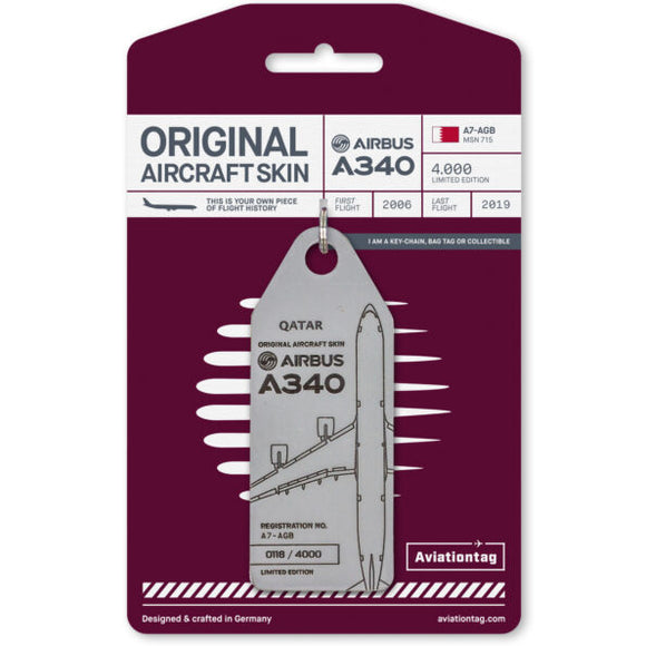 Aviationtag Qatar Airways A340 Aircraft Skin Tag in grey colour with packaging - Aircraft Registration A7-AGB