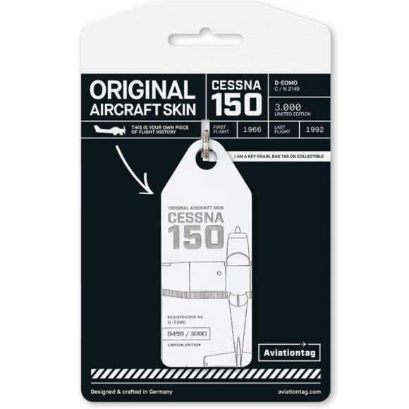 Aviationtag Cessna 150 Aircraft Skin Tag in white colour with packaging - Aircraft Registration D-EOMO