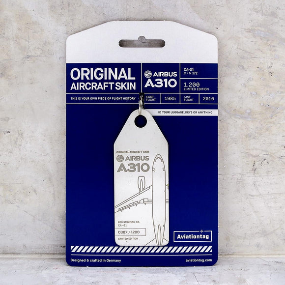 Aviationtag Belgian Airforce A310 Aircraft Skin Tag in white colour with packaging - Aircraft Registration CA-101