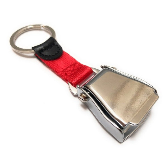 Airplane Seat Belt Keychain | Red | Shiny Finish | Aviamart