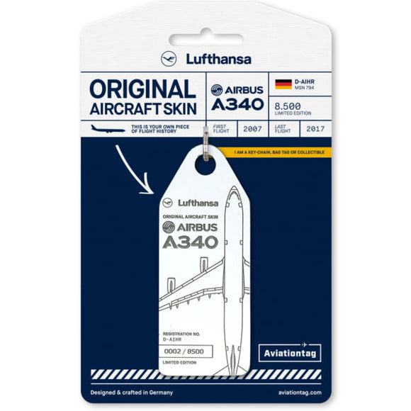 Aviationtag Lufthansa A340 Aircraft Skin Tag in white colour with packaging - Aircraft Registration D-AIHR