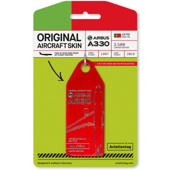 Aviationtag Tap Portugal Airlines A330 Aircraft Skin Tag in red colour with packaging - Aircraft Registration CS-TOI