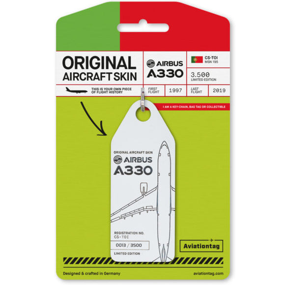 Aviationtag Tap Portugal Airlines A330 Aircraft Skin Tag in white colour with packaging - Aircraft Registration CS-TOI