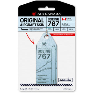 Aviationtag Air Canada B767 Aircraft Skin Tag in light blue colour with packaging - Aircraft Registration C-FCAG