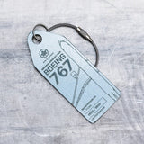 Aviationtag Air Canada B767 Aircraft Skin Tag in light blue colour   - front view of the tag - Aircraft Registration C-FCAG