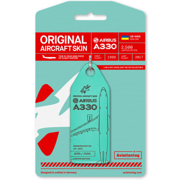 Aviationtag Windrose A330 Aircraft Skin Tag in turquosie colour with packaging - Aircraft Registration UR-WRQ