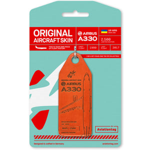Aviationtag Windrose A330 Aircraft Skin Tag in orange colour with packaging - Aircraft Registration UR-WRQ