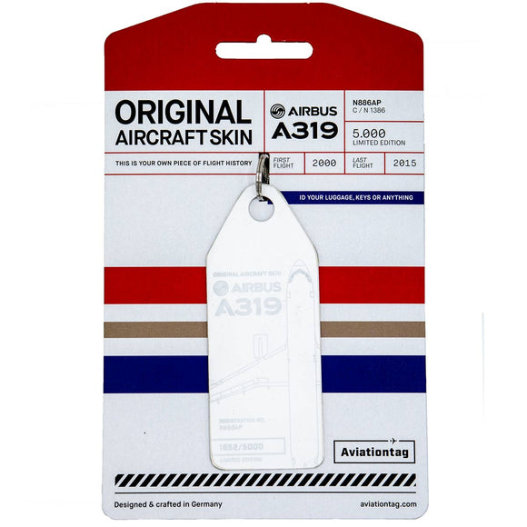 Aviationtag Chine Eastern A319 Aircraft Skin Tag in white colour with packaging - Aircraft Registration N886AP