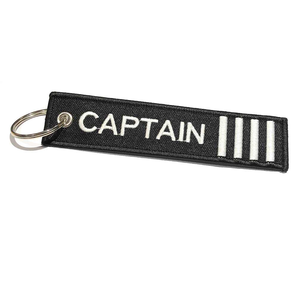 Captain Luggage Tag | Keychain | 4 Silver Stripes | Aviamart