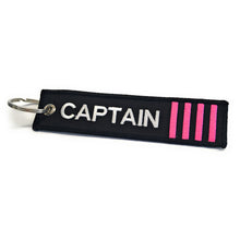 Captain Luggage Tag | Keychain | 4 Pink Stripes