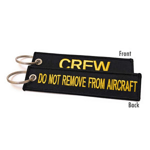 Embroidered Crew / Do Not Remove From Aircraft  Luggage Tag - Black / Yellow | Aviamart