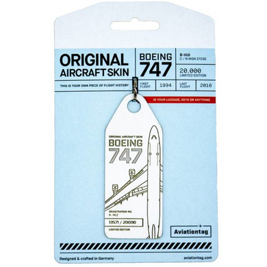 Aviationtag Original Aircraft Skin Tag Boeing B747 Cathay Pacific White