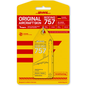 Aviationtag DHL B757 Aircraft Skin Tag in yellow colour with packaging - Aircraft Registration D-ALEH