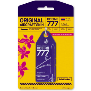 Aviationtag Original Aircraft Skin Tag Boeing B777 Thai Airways Purple