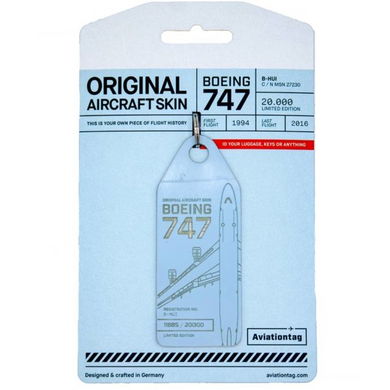 Aviationtag Original Aircraft Skin Tag Boeing B747 Cathay Pacific Light Blue