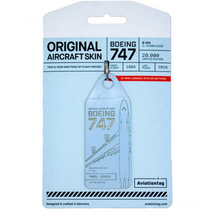 Aviationtag Cathay Pacific B747 Aircraft Skin Tag in light blue colour with packaging - Aircraft Registration B-HUI
