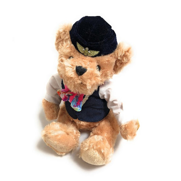Soft Toy Flight Attendant Teddy Bear in Blue Uniform | Small (25 cm) - aviamart