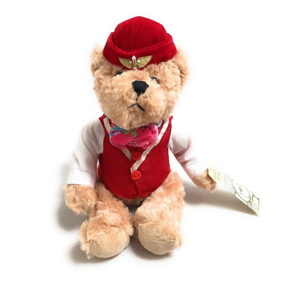 Soft Toy Flight Attendant Teddy Bear in Red Uniform | Small (25 cm) | Aviamart