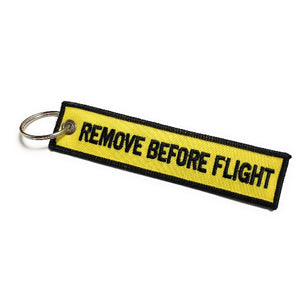 Follow Me / Remove Before Flight Keychain | Luggage Tag / Yellow / Black