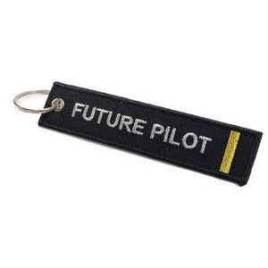 Future Pilot Keychain | Luggage Tag | 1 Gold Stripe