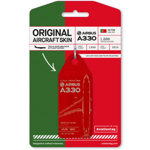Aviationtag Tap Portugal Airlines A330 Aircraft Skin Tag in red colour with packaging - Aircraft Registration CS-TOE
