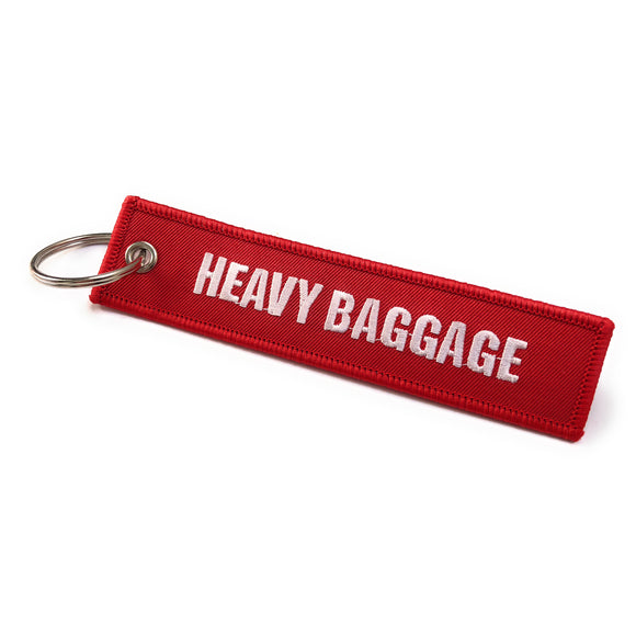 Heavy Baggage / Handle With Care Luggage Tag | Keychain | Red  / White | Aviamart