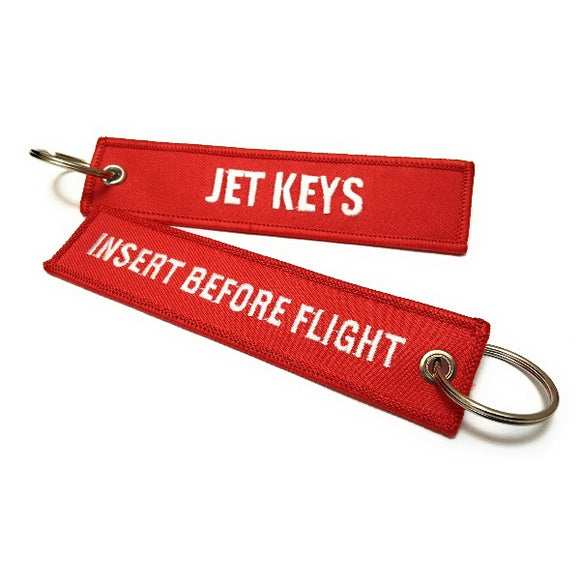 Jet Keys / Insert Before Flight Keychain | Luggage Tag | Red / White | Aviamart
