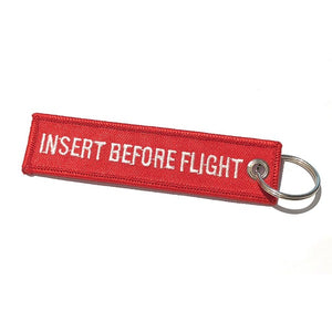 Mini - Jet Keys / Insert Before Flight Keychain | Luggage Tag | Red / White