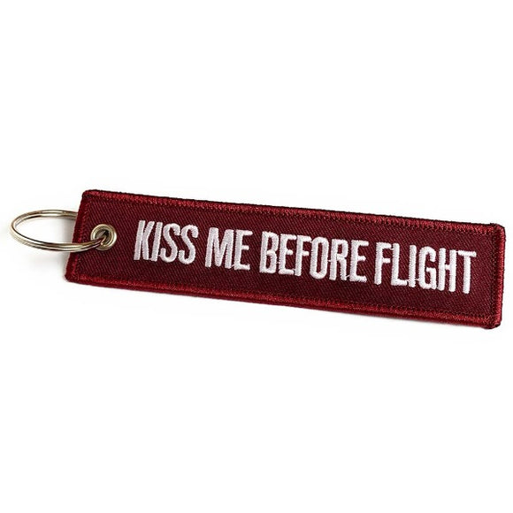 Kiss Me Before Flight Keychain | Luggage Tag | Cherry Red | Aviamart