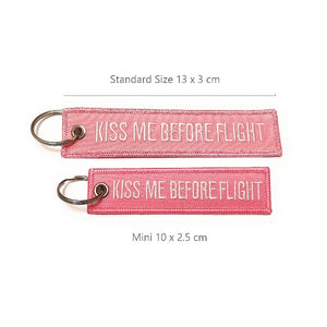 Kiss Me Before Flight Keychain | MINI | Luggage Tag | Pink