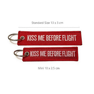 Kiss Me Before Flight Keychain | MINI | Luggage Tag | Red