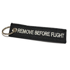 Remove Before Flight MINI Keychain | Luggage Tag | Black / White | Aviamart