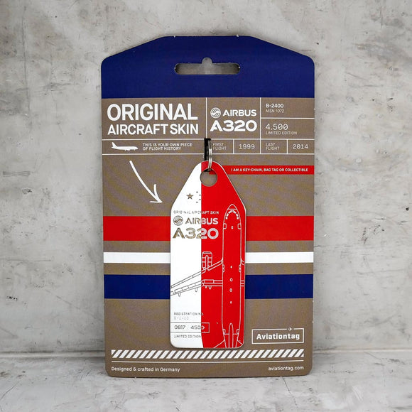 Aviationtag China Eastern Airlines A320 Aircraft Skin Tag in red and white colour with packaging - Aircraft Registration B-2400