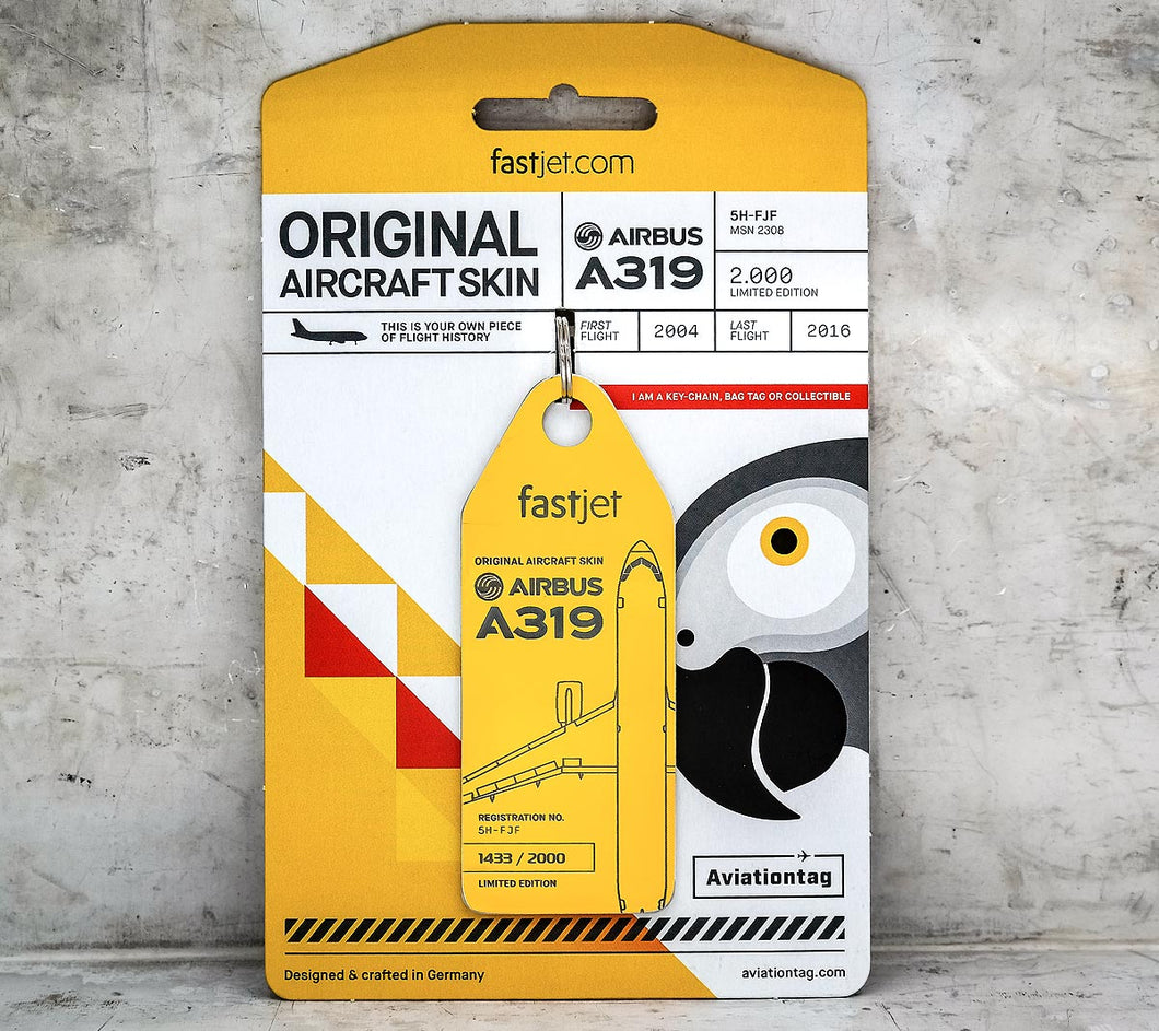 Aviationtag Airbus A319 – Yellow (fastjet) 5H-FJF | Aviamart