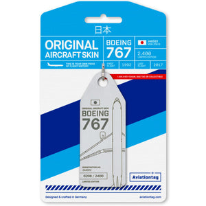 Aviationtag All Nippon Airways B767 Aircraft Skin Tag in white colour with packaging - Aircraft Registration JA8322