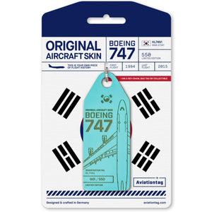 Aviationtag Korean Air B747 Aircraft Skin Tag in blue colour with packaging - Aircraft Registration HL7491