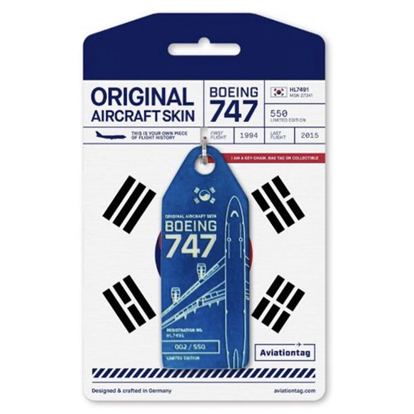 Aviationtag Boeing B747 - Dark Blue (Korean Air) HL7491 | Aviamart