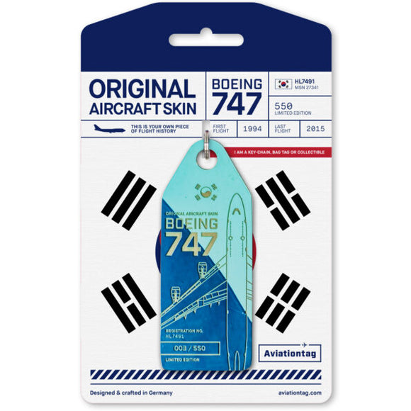 Aviationtag Boeing B747 - Light and Dark Blue (Korean Air) HL7491 | Aviamart